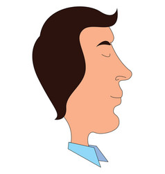 a profile a young man facing sidewise or color vector image