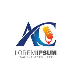 Ac monogram initial podcast logo vector