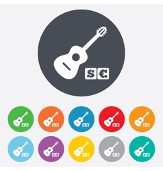 Acoustic guitar sign icon Paid music symbol vector image