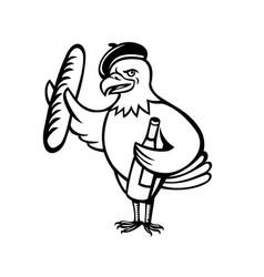 American eagle beret baguette wine cartoon vector
