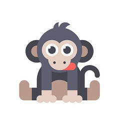 Baby monkey sitting on the floor and dticking out vector image