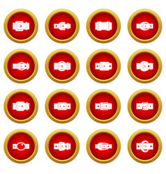Belt buckles icon red circle set vector