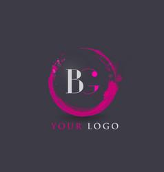 bg letter logo circular purple splash brush vector image