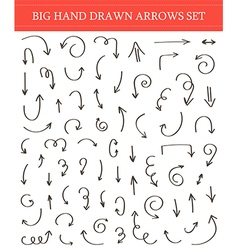 Big hand drawn arrow set collection vector