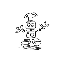 Black robot cyborg icon vector image