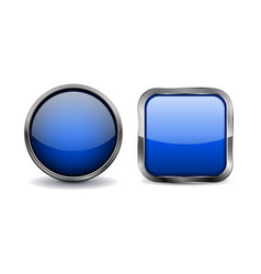 Blue buttons with chrome frame vector