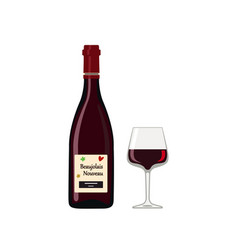 bottle beaujolais nouveau with glass isolated on vector image