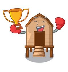 Boxing winner chicken in a wooden cartoon coop vector