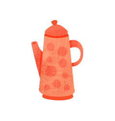 Bright red teapot with handle lid and long snout vector