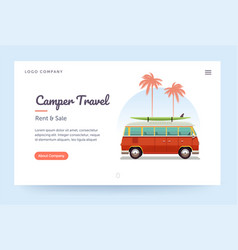 Camper travel website template surfing retro van vector