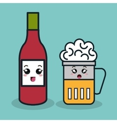 Cartoon bottle ketchup with glass beer facial vector