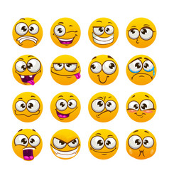 Cartoon funny yellow faces comic emoji set vector