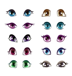 Cartoon girls eyes set vector