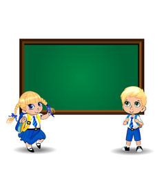 Cartoon schoolgirl and schoolboy standing near vector