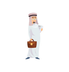 cheerful muslim businessman with papers vector image