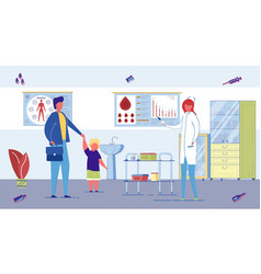 child visits pediatrician doctor for vaccination vector image