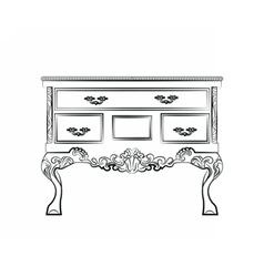 Classic table furniture with royal ornaments vector