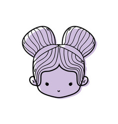 Color girl head with two buns hair design vector