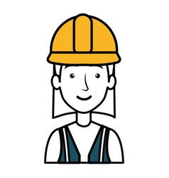 Construction worker woman avatar character vector