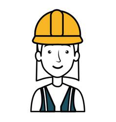 Construction worker woman avatar character vector