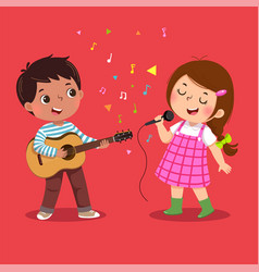 Cute boy playing guitar and little girl singing vector