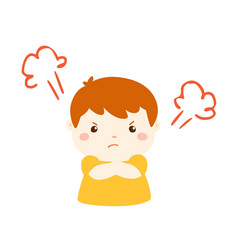 cute cartoon angry boy character vector image