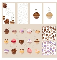 Detailed set with different muffins vector