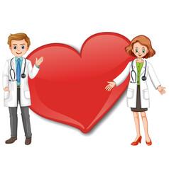 empty big heart banner with two doctors cartoon vector image