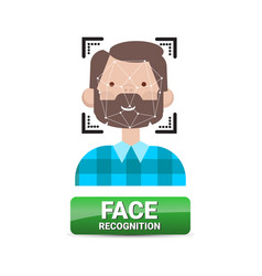 Face recognition button biometrical identification vector