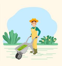 Farmer carry wheelbarrow with grass work on field vector