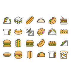fast food filled outline icon such as burger and vector image