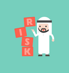finger push the risk block with arab businessman vector image