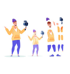 flat video blogger streamer animation set vector image