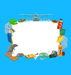 frame with insects and pest control tools vector image