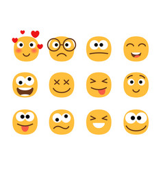 fun smile emoticons faces vector image
