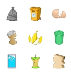 Garbage sorting concept icons set cartoon style vector