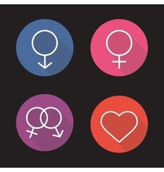 Gender symbols flat linear long shadow icons set vector