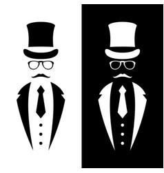 Gentleman wearing suit retro hat vector