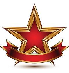 Glamorous template with pentagonal golden stars vector