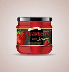 glass jar mockup strawberry jam package design 2 vector image