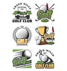 Golf game and sport club icons vector
