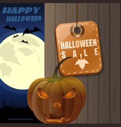 Halloween sale with jack o lantern card vector