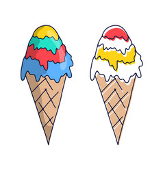 hand drawn ice cream doodle sketch style icon vector image