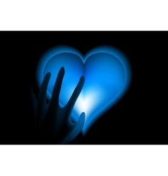 Hand in heat from blue heart cold vector image