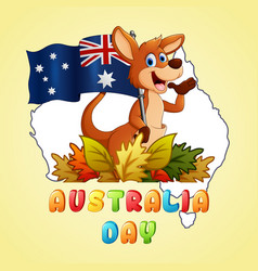happy australia day kangaroo holding a flag on map vector image