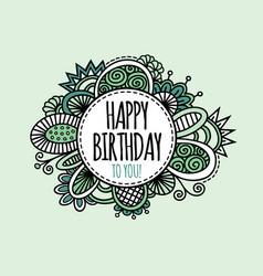 Happy birthday circle hand drawn vector