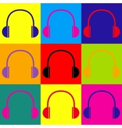 Headphones sign Pop-art style icons set vector
