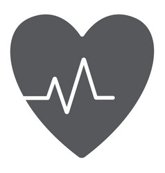 heartbeat glyph icon cardiogram and heart pulse vector image