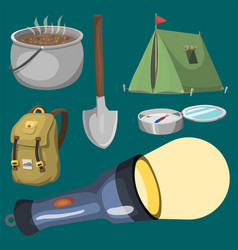 hiking camping equipment base camp gear and vector image