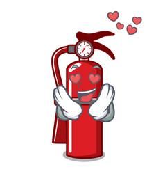 In love fire extinguisher mascot cartoon vector